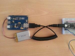 Conexión de Bateria de prueba, Lipo Rider Pro y Teensy mediante cable USB