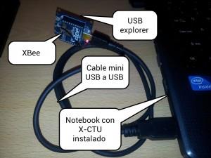 Foto 3. Unidad Cental que incluye XBee, USB explorer, Cable y Notebook