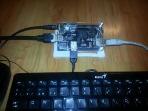 Conexión básica del Cubieboard. Derecha cable de red. Izquierda Alimentacion y salida HDMI. Abajo Mouse y Teclado USB