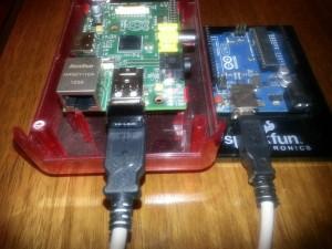 Asi queda finalmente Arduino conectado a RaspberryPi , lo mejor de los dos mundos